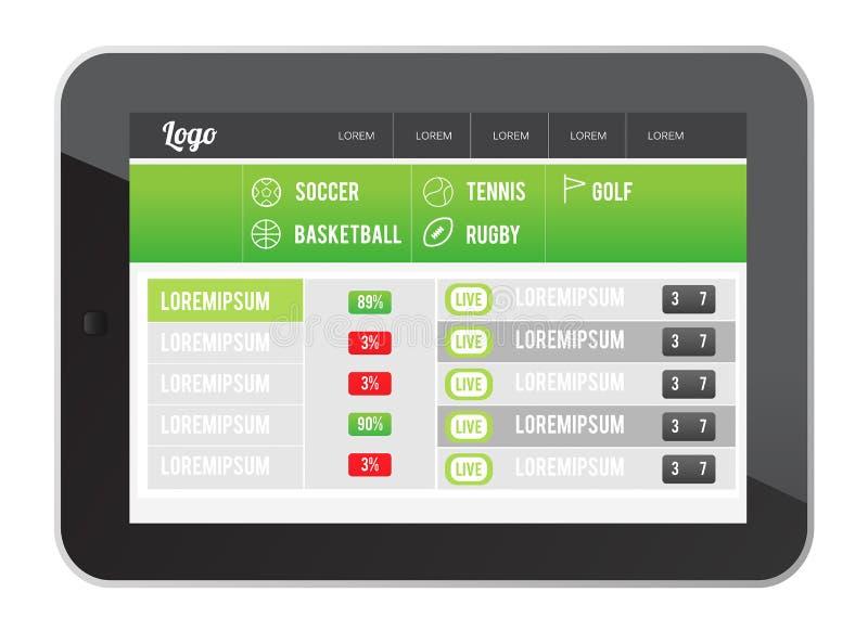 Sporta app interfejs na pastylka ekranie ilustracja wektor