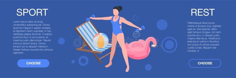 Sporta aqua odpoczynku sztandar, isometric styl ilustracji