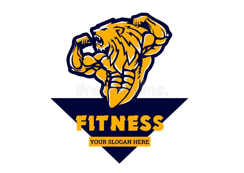 Sporta bodybuilder lwa silny logo ilustracja wektor