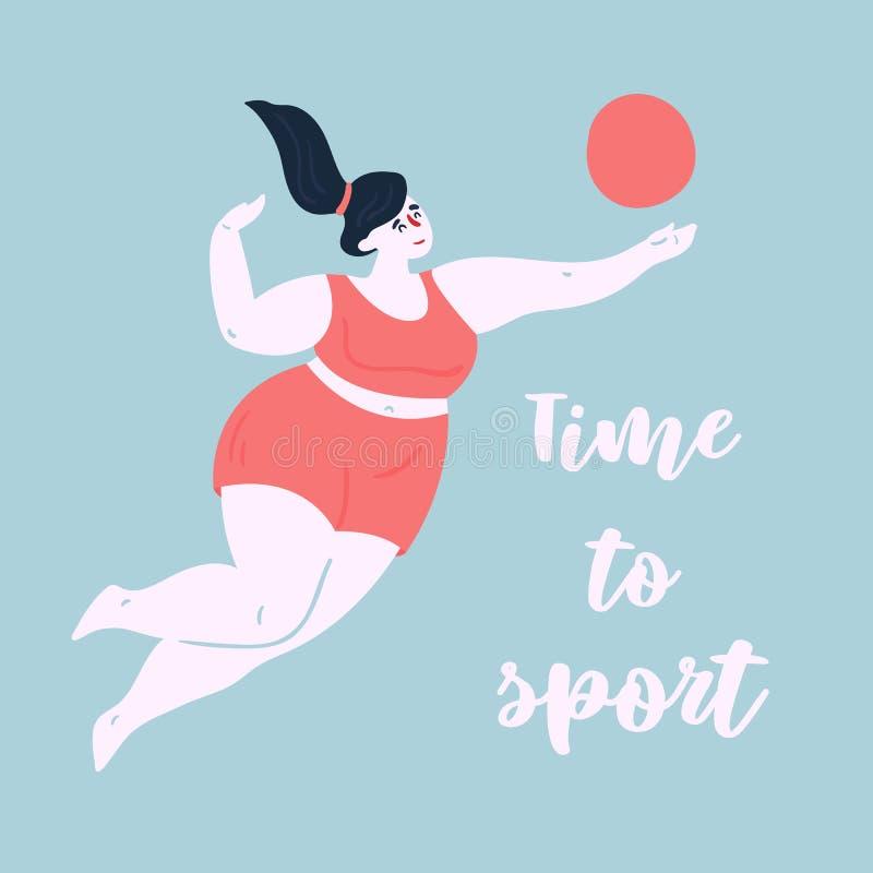 sporta czas Kobieta ćwiczy w siatkówce royalty ilustracja
