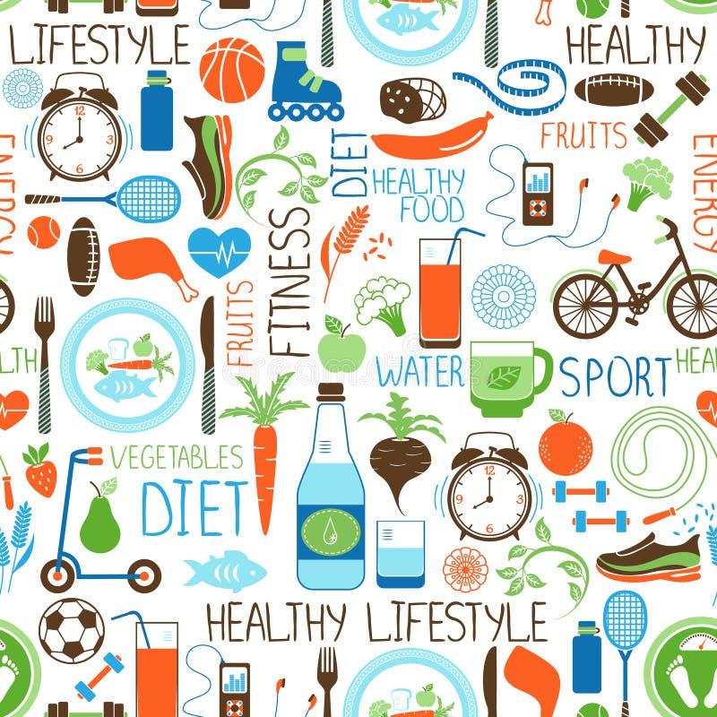 Sporta, diety i sprawności fizycznej wzór, ilustracja wektor