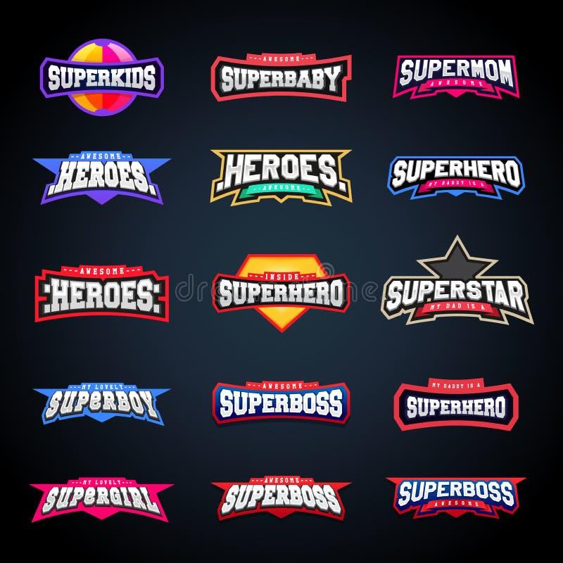 Sporta emblemata typografii set Super logo dla twój koszulki Mega logotyp kolekcja ilustracja wektor