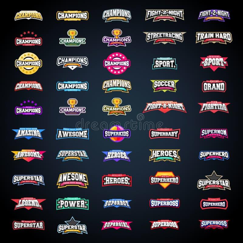 Sporta emblemata typografii set Super logo dla twój koszulki Mega logotyp kolekcja royalty ilustracja