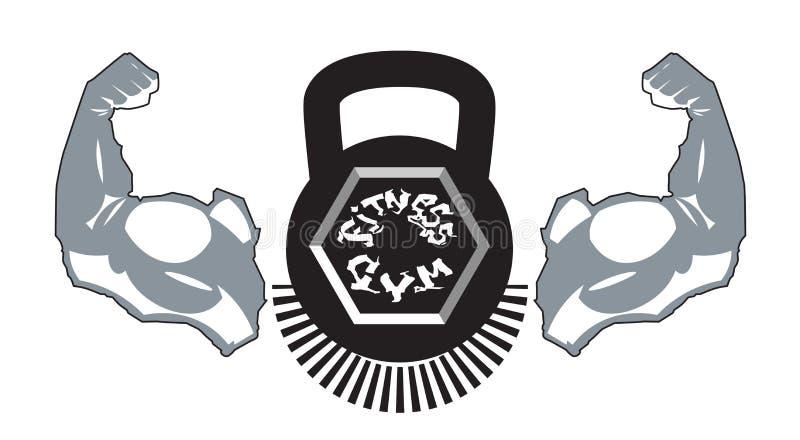Sporta Gym sztandaru sylwetki sprawności fizycznej centrum etykietki szablon Odizolowywający Na Białym tle ilustracji