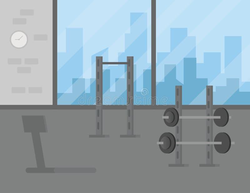 Sporta Gym treningu wyposażenia kopii Wewnętrznej przestrzeni Płaska Wektorowa ilustracja royalty ilustracja