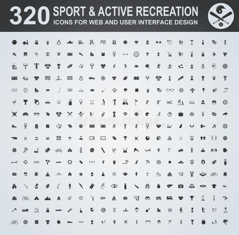 Sporta i aktywnego ikony rekreacyjny set ilustracji