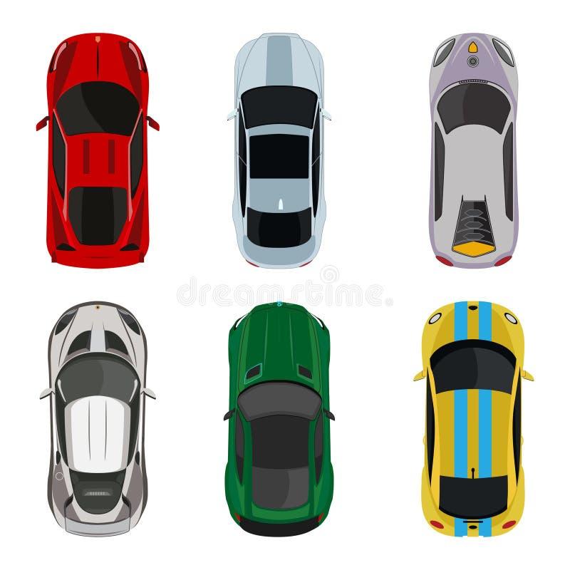 Sporta i bieżnych samochodów odgórnego widoku ikony ustawiają wektorową ilustrację royalty ilustracja