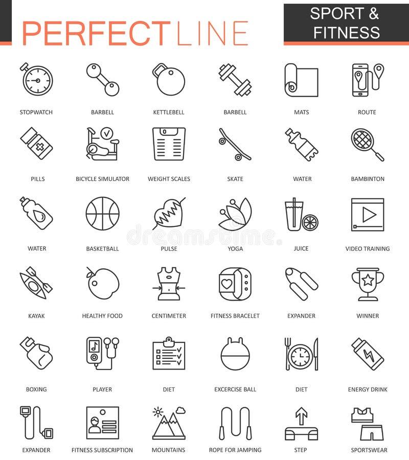 Sporta i sprawności fizycznej sieci cienkie kreskowe ikony ustawiać Kontur ikony projekt ilustracja wektor