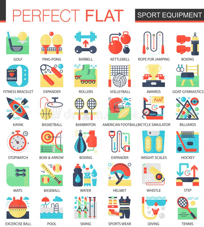 Sporta i sprawności fizycznej wyposażenia ikony pojęcia wektorowi powikłani płascy symbole dla sieć infographic projekta ilustracji