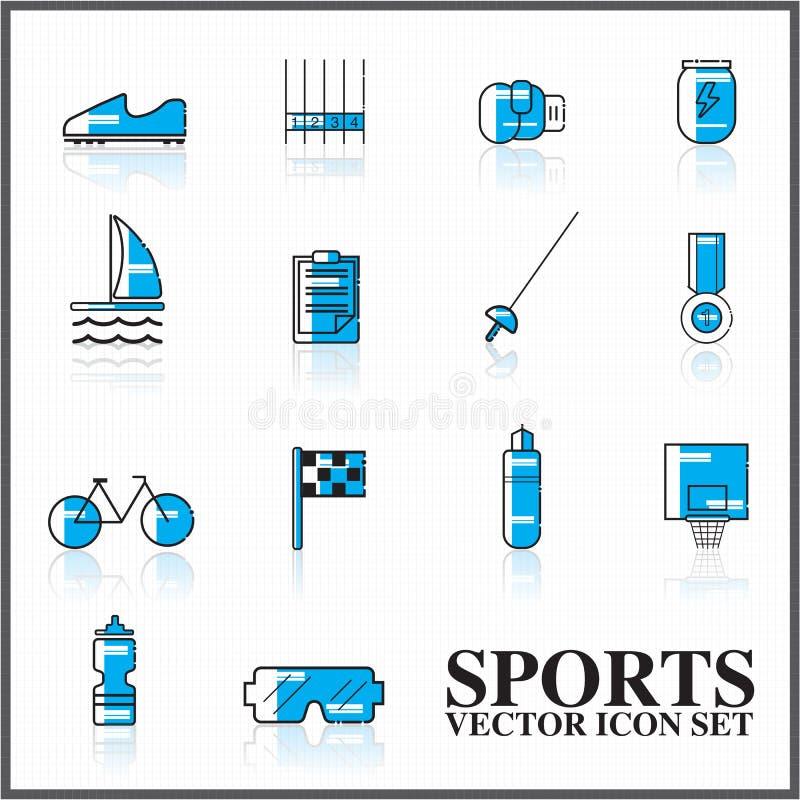sporta ikona ustawiający kontur twotone ilustracja wektor