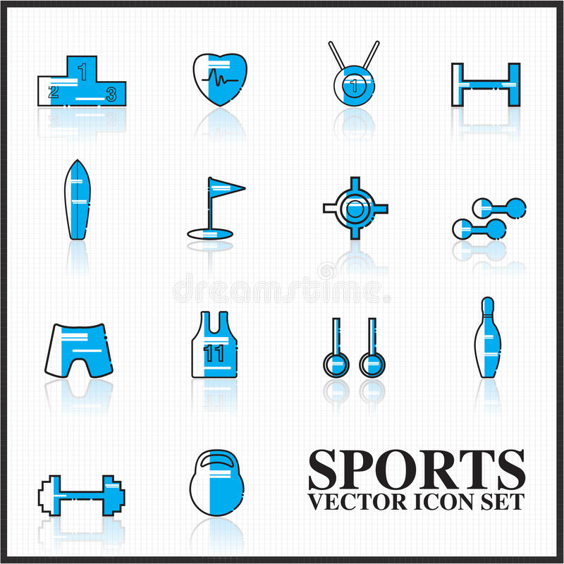 sporta ikona ustawiający kontur twotone royalty ilustracja