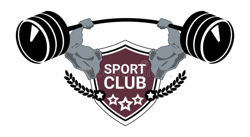 Sporta klubu loga Nowożytna sprawność fizyczna Lub Gym emblemata sylwetki Centrum szablon Odizolowywający Na Białym tle ilustracji