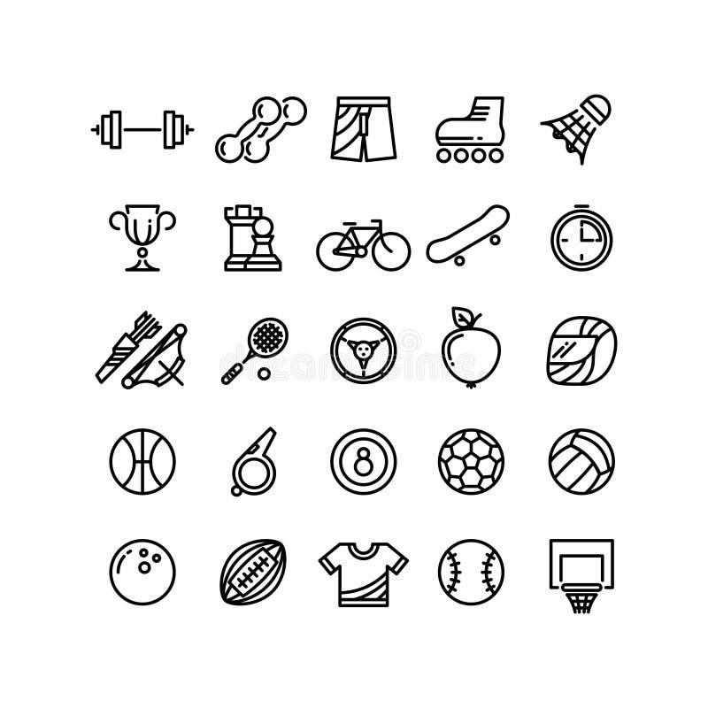 Sporta konturu symboli/lów wyposażenia cienkie kreskowe wektorowe ikony royalty ilustracja