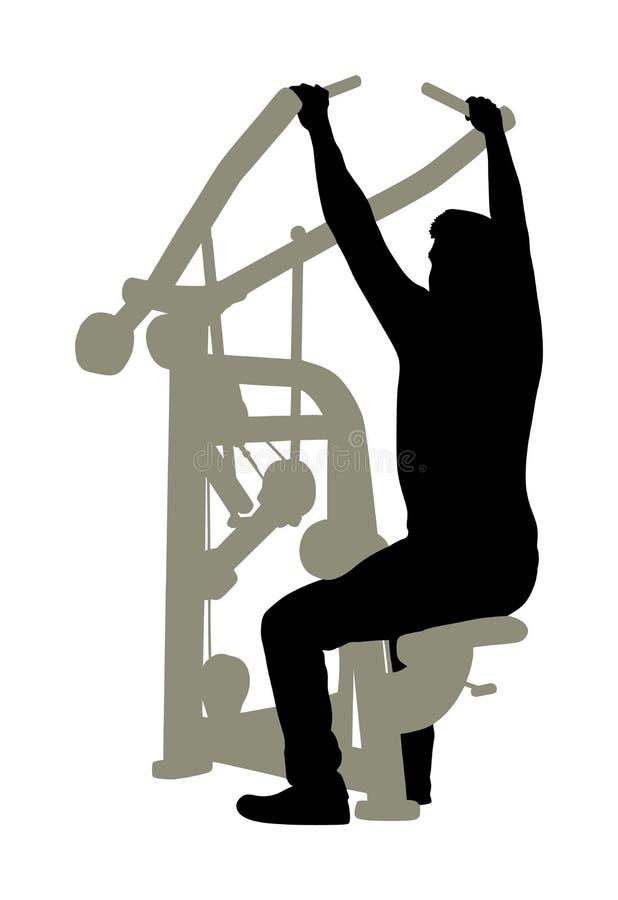 Sporta mężczyzna ćwiczy w gym na sprawności fizycznej maszynowej sylwetce odizolowywającej na białym tle Wielo- czynnościowy gym  royalty ilustracja