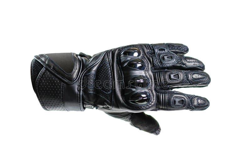 Sporta Moto czarne rękawiczki pojedynczy białe tło zdjęcie stock