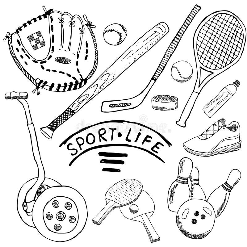 Sporta nakreślenie doodles elementy Wręcza rysującego set z kijem bejsbolowym i rękawiczką, bowlong, hokkey tenisowe rzeczy, Rysu ilustracji