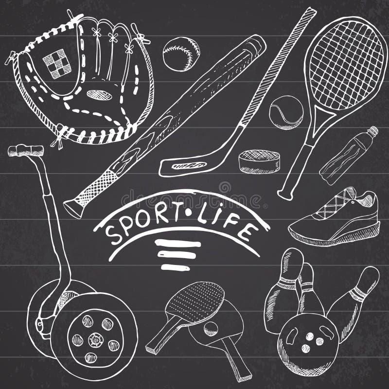 Sporta nakreślenie doodles elementy Wręcza rysującego set z kijem bejsbolowym i rękawiczką, segway bowlong, hokkey tenisowe rzecz ilustracja wektor