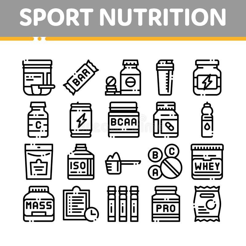 Sporta odżywiania komórek wektoru Cienkie Kreskowe ikony Ustawiać royalty ilustracja