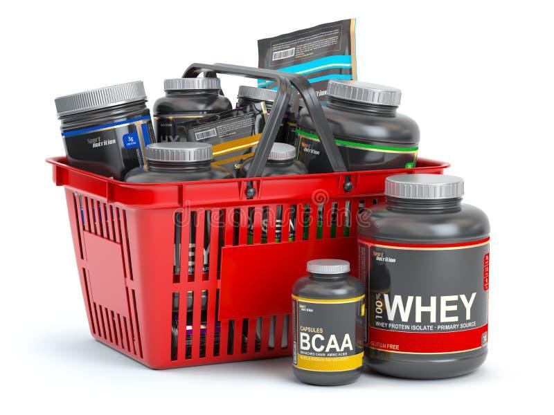 Sporta odżywiania nadprogramy dla bodybuilding w zakupy koszu isolaed na bielu Serwatki proteinand bcaa ilustracji