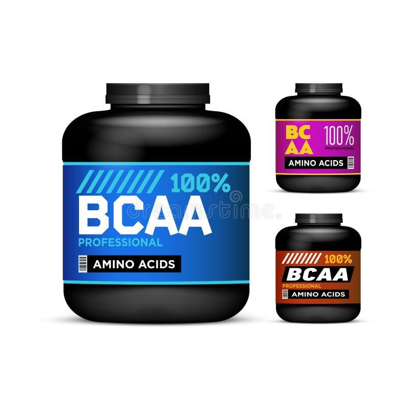 Sporta odżywiania zbiorniki łańcuchów Amino kwasy ustawiający Czarne puszki inkasowe z BCAA Słój etykietka na bielu ilustracja wektor