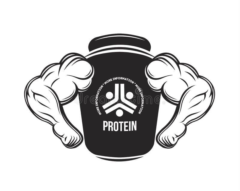 Sporta odżywianie Proteinowy słój przydatność Proteina, dumbbell, energia napoje Bodybuilding nadprograma monochromu karmowy wekt royalty ilustracja
