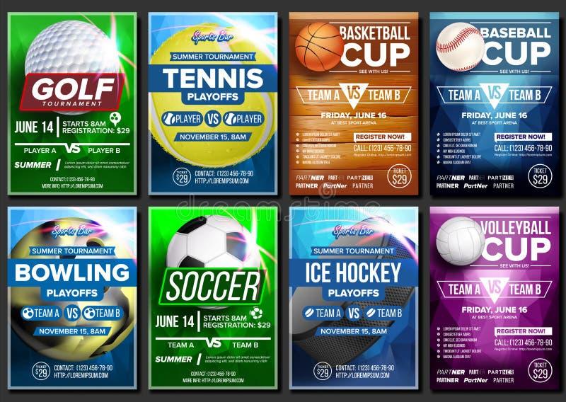 Sporta plakata Ustalony wektor Lodowy hokej, kręgle, koszykówka, golf, baseball, tenis, piłka nożna, futbol Sztandar reklama royalty ilustracja