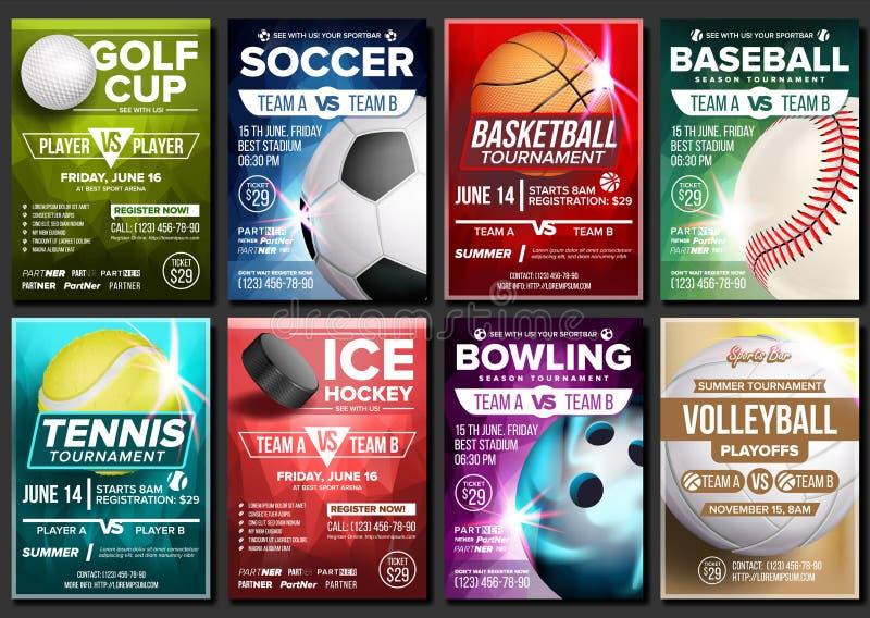 Sporta plakata Ustalony wektor Tenis, koszykówka, piłka nożna, golf, baseball, Lodowy hokej, Rzuca kulą Wydarzenia zawiadomienie  ilustracja wektor