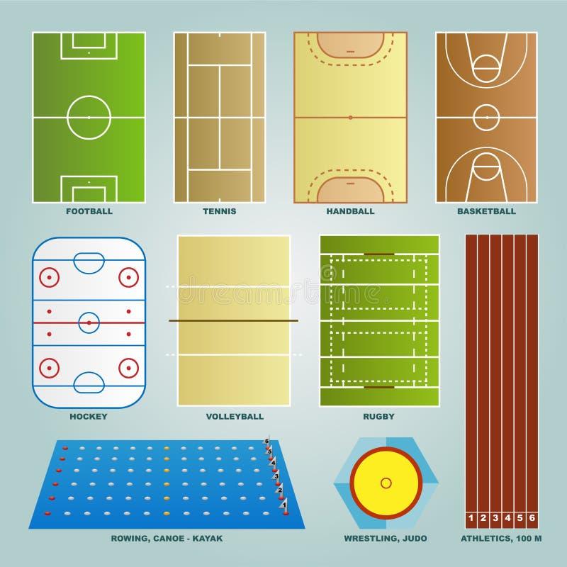 Sporta pola set ilustracji