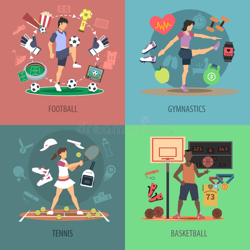 Sporta projekta pojęcia setu ludzie ilustracja wektor