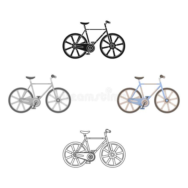 Sporta rower ?ciga si? na ?ladzie Pr?dko?? rower z zbrojonymi ko?ami Różnego bicyklu pojedyncza ikona w kreskówce, czerń styl ilustracji