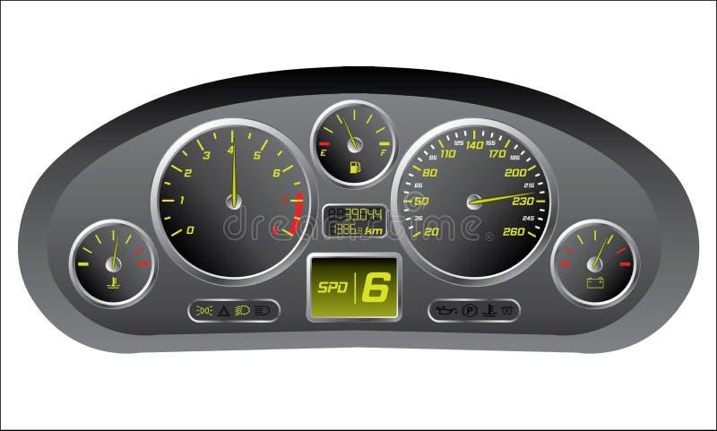 Sporta samochodu deska rozdzielcza ilustracja wektor