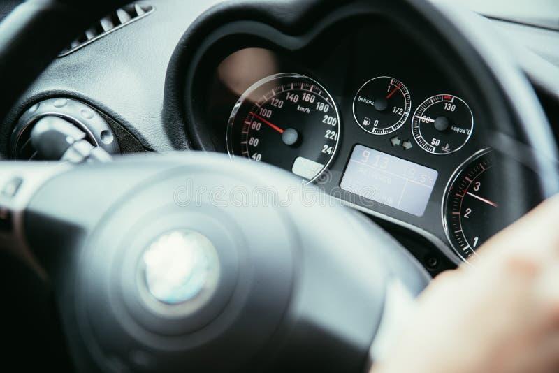 Sporta samochodu kierownica z, deska rozdzielcza i obrazy royalty free