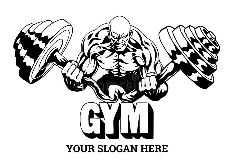 Sporta silny bodybuilder napina ciężkiego barbell ilustracji