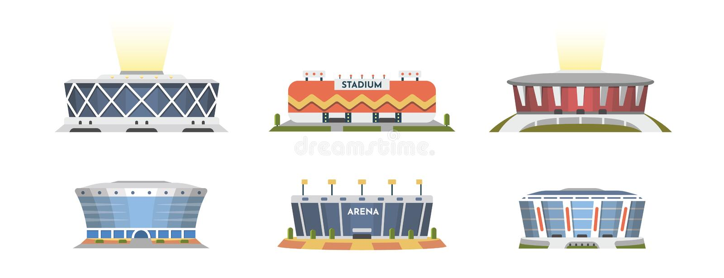 Sporta stadium frontowego widoku wektorowa kolekcja w kreskówka stylu Miasto areny powierzchowności ilustracja ilustracji