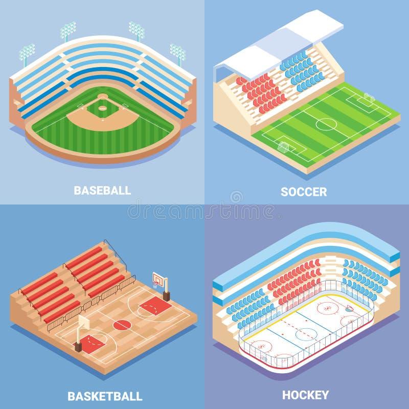 Sporta stadium ikony wektorowy płaski isometric set ilustracja wektor