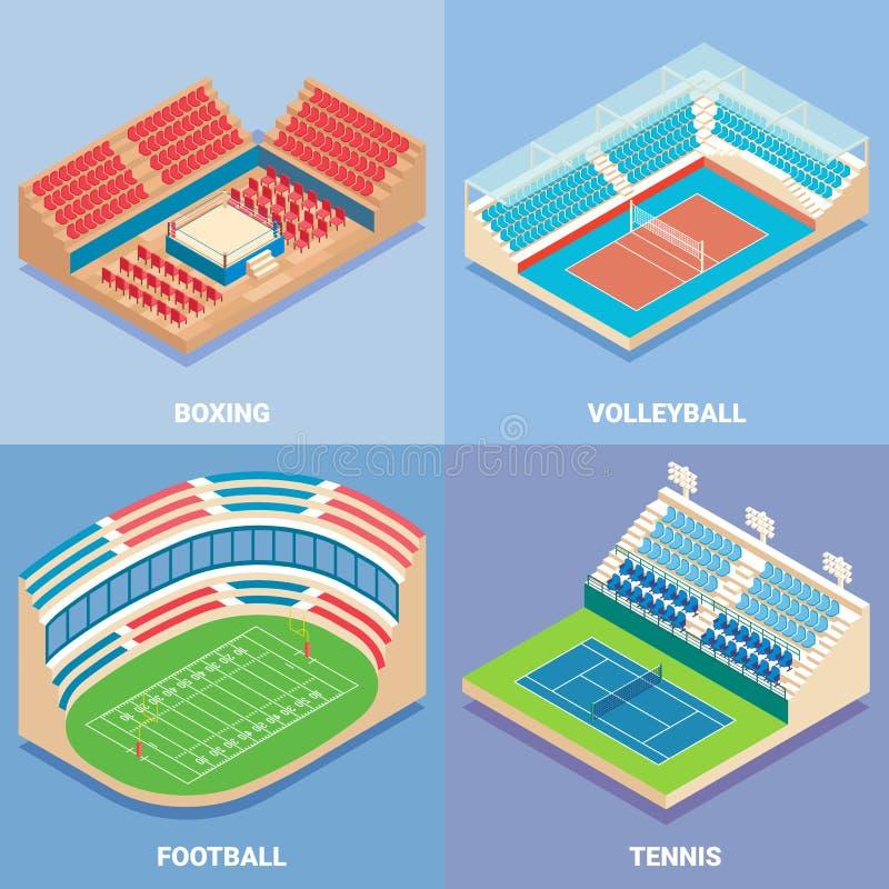 Sporta stadium ikony wektorowy płaski isometric set ilustracji