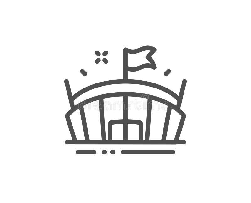 Sporta stadium linii ikona Arena z flaga znakiem Sporta kompleks wektor royalty ilustracja