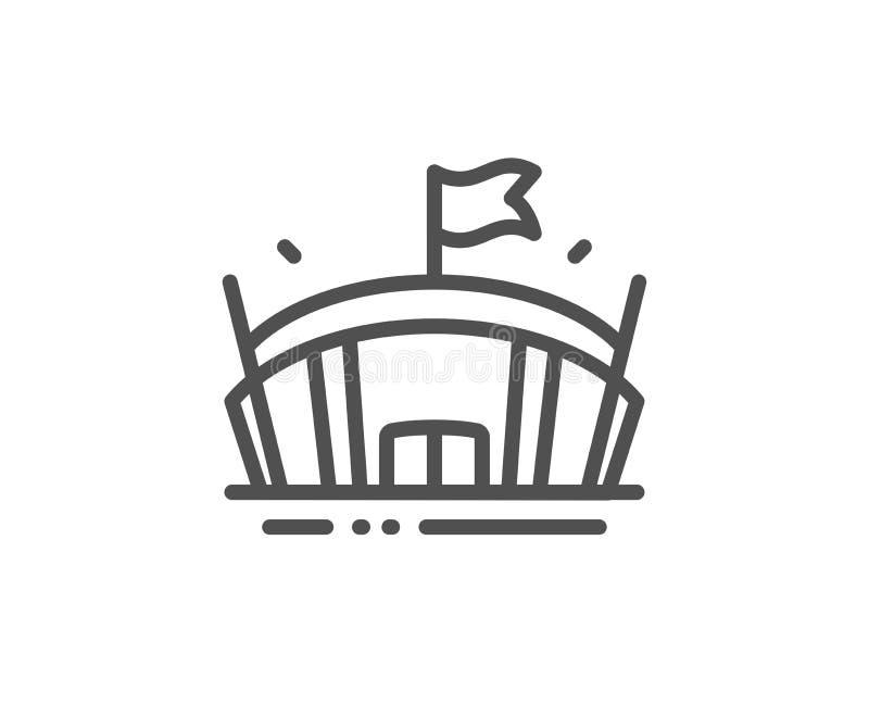 Sporta stadium linii ikona Arena z flaga znakiem Sporta kompleks wektor ilustracji