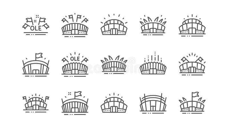 Sporta stadium linii ikony Ole skandowanie, arena futbol, mistrzostwo architektura Liniowy set wektor ilustracja wektor