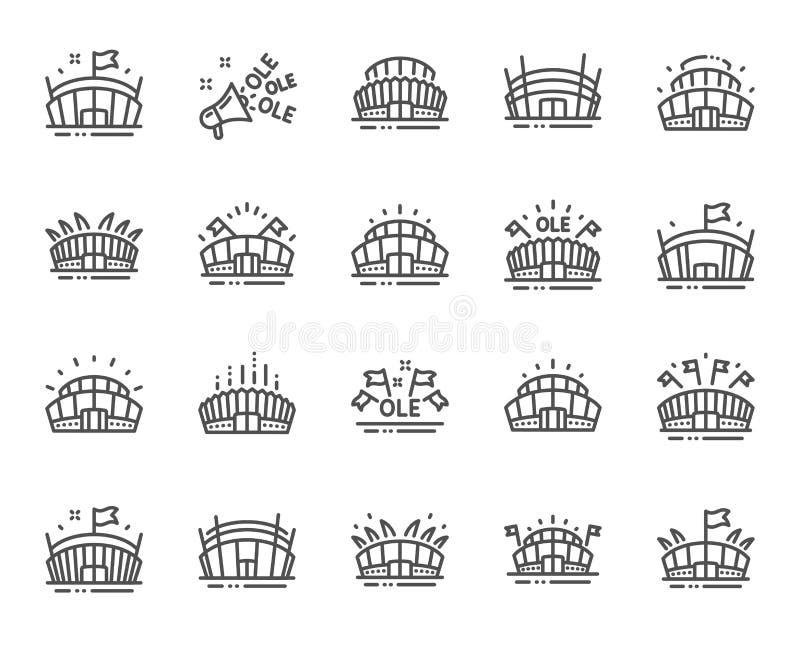 Sporta stadium linii ikony Ole skandowanie, arena futbol, mistrzostwo architektura wektor ilustracji