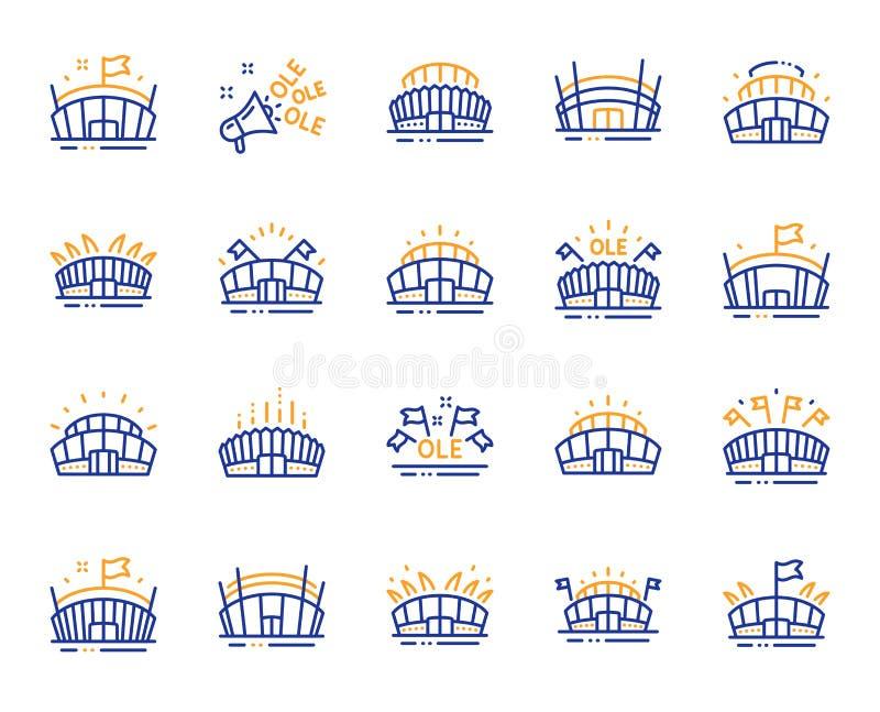 Sporta stadium linii ikony Ole skandowanie, arena futbol, mistrzostwo architektura wektor royalty ilustracja