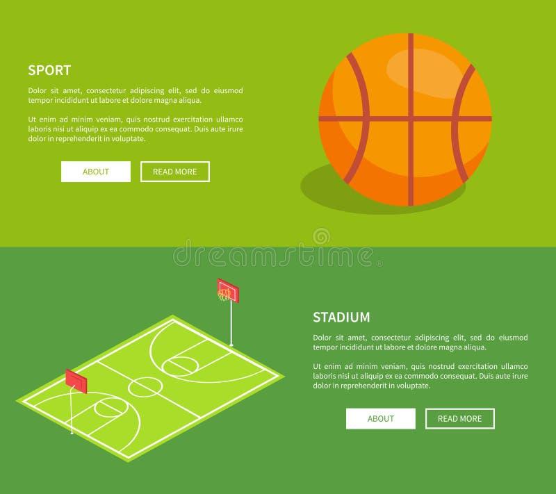 Sporta stadium plakaty z koszykówki boiskiem ilustracji