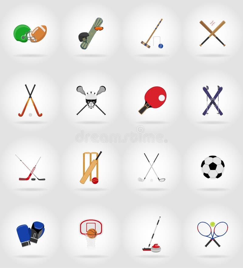 Sporta wyposażenia płaskie ikony ilustracyjne royalty ilustracja