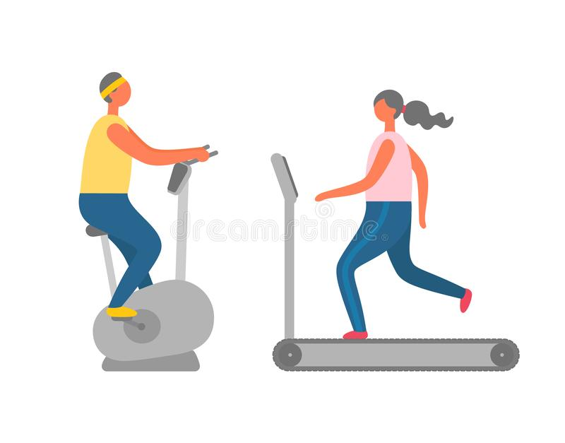 Sporta wyposażenie, Cardio szkolenie ludzie Vecto ilustracji