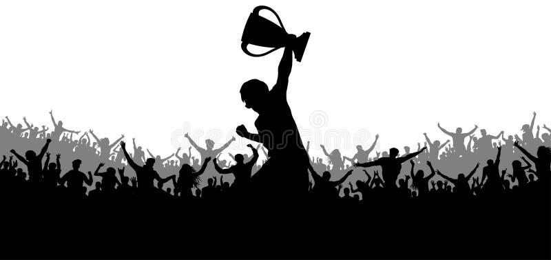 Sporta zwycięstwa filiżanka Rozweselający tłumu wachluje sylwetkę ilustracji
