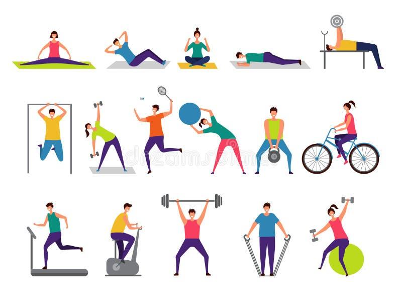 Sportactiviteiten Actieve mensen die geschiktheidsacties maken die springende speel cirkelende vectorkarakters in werking stellen vector illustratie