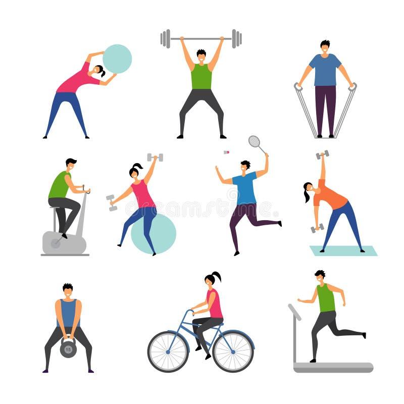 Sportactiviteiten De karakters openlucht makend wat oefent actieve mensen uit die de geschiktheid van de mensengymnastiek vectorb royalty-vrije illustratie