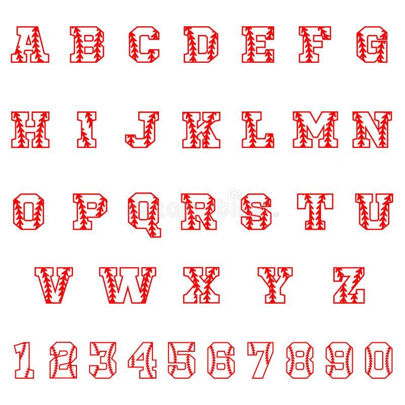 Sportalfabetbokstäver och nummer på vit bakgrund Tappningsportstilsort Baseballbokstavs- och nummervektor Softballstilsort vektor illustrationer