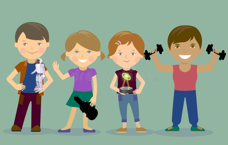 Sportar för musik för hobbyungerobot Ny teknikhologram chip vektor royaltyfri illustrationer