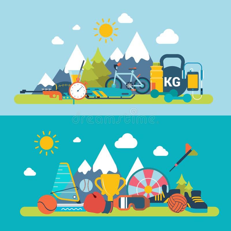 Sportar för plats för ny luft för berg övervintrar utomhus- summa stock illustrationer